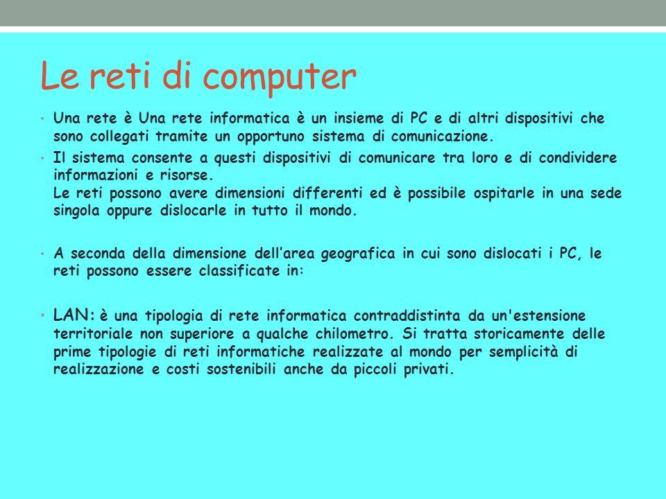 Le reti di computer Una rete è Una rete informatica è un insieme di PC e di altri dispositivi che sono collegati tramite un opportuno sistema di comunicazione.