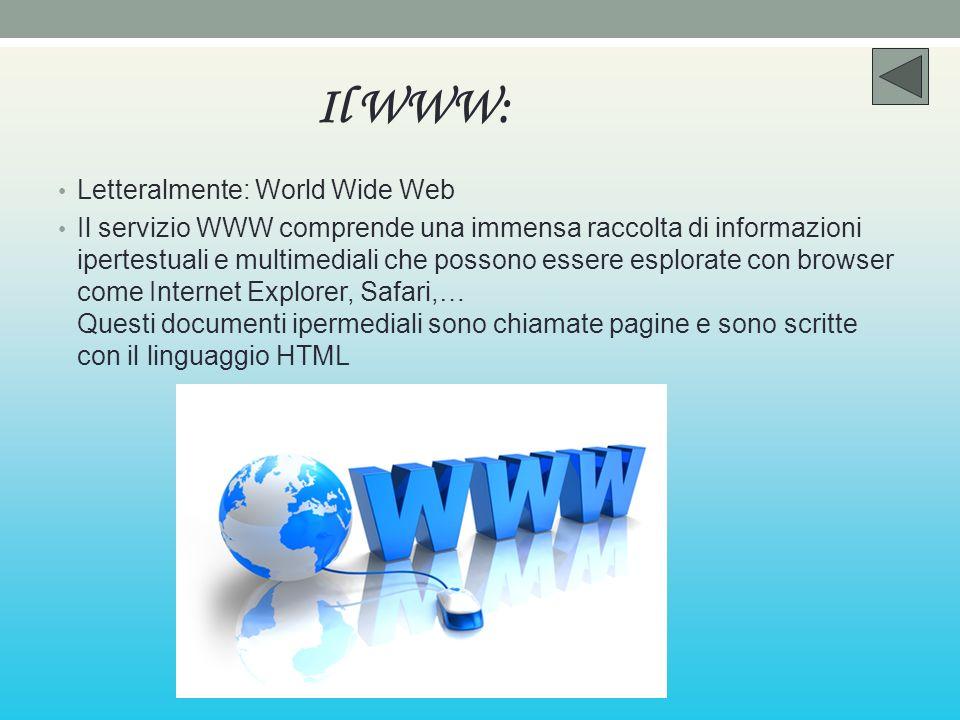 Il WWW: Letteralmente: World Wide Web Il servizio WWW comprende una immensa raccolta di informazioni ipertestuali e multimediali che possono essere es