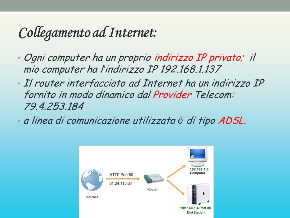Collegamento ad Internet: Ogni computer ha un proprio indirizzo IP privato; il mio computer ha l indirizzo IP 192.168.1.137 Il router interfacciato ad