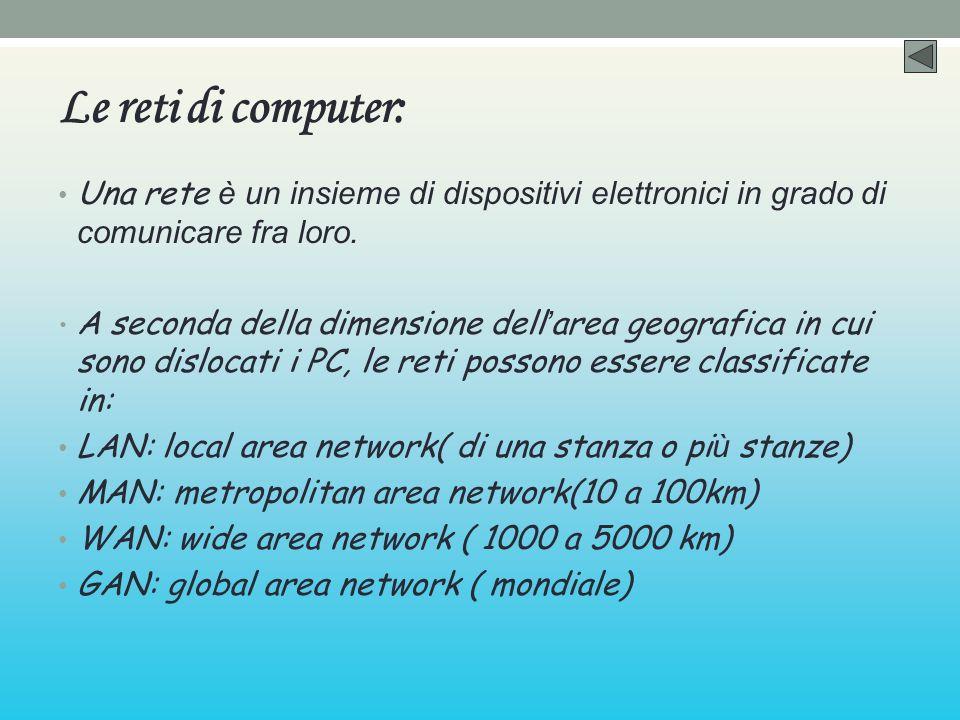 Le reti di computer: Una rete è un insieme di dispositivi elettronici in grado di comunicare fra loro.