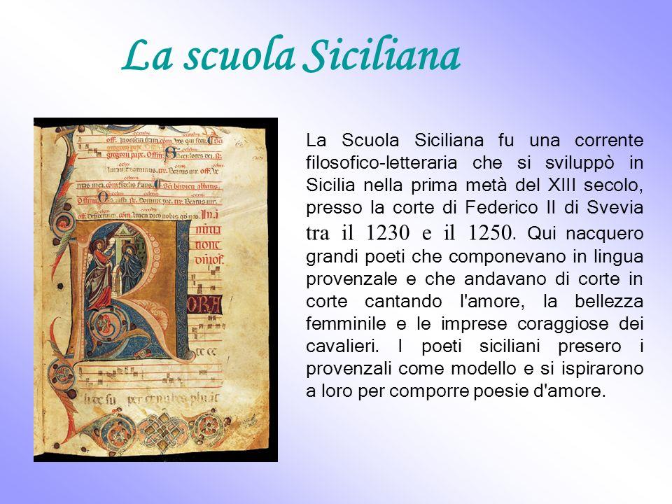 La poesia siciliana sotto Federico II può a pieno titolo considerarsi alla origini della letteratura italiana in volgare e punto di riferimento per i poeti dei come Guittone d Arezzo,Guido Cavalcanti, Dante.