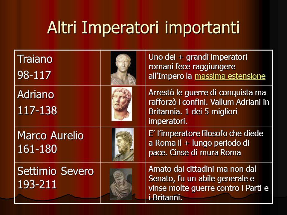 Altri Imperatori importanti Traiano98-117 Uno dei + grandi imperatori romani fece raggiungere allImpero la massima estensione massima estensionemassim