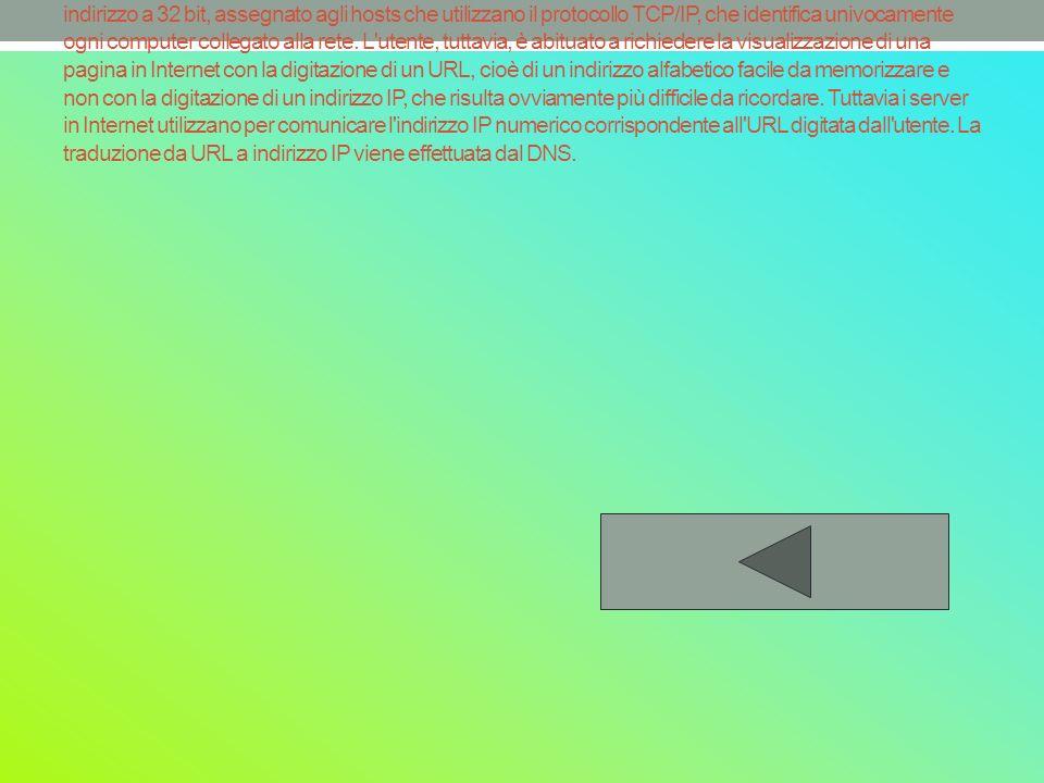 Gli indirizzi IP indirizzo a 32 bit, assegnato agli hosts che utilizzano il protocollo TCP/IP, che identifica univocamente ogni computer collegato alla rete.