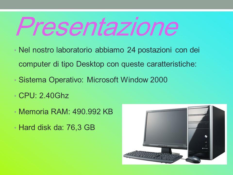 Presentazione Nel nostro laboratorio abbiamo 24 postazioni con dei computer di tipo Desktop con queste caratteristiche: Sistema Operativo: Microsoft Window 2000 CPU: 2.40Ghz Memoria RAM: 490.992 KB Hard disk da: 76,3 GB