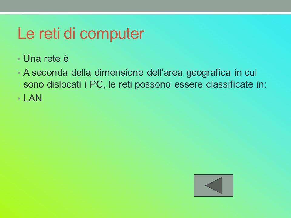 Le reti di computer Una rete è A seconda della dimensione dellarea geografica in cui sono dislocati i PC, le reti possono essere classificate in: LAN