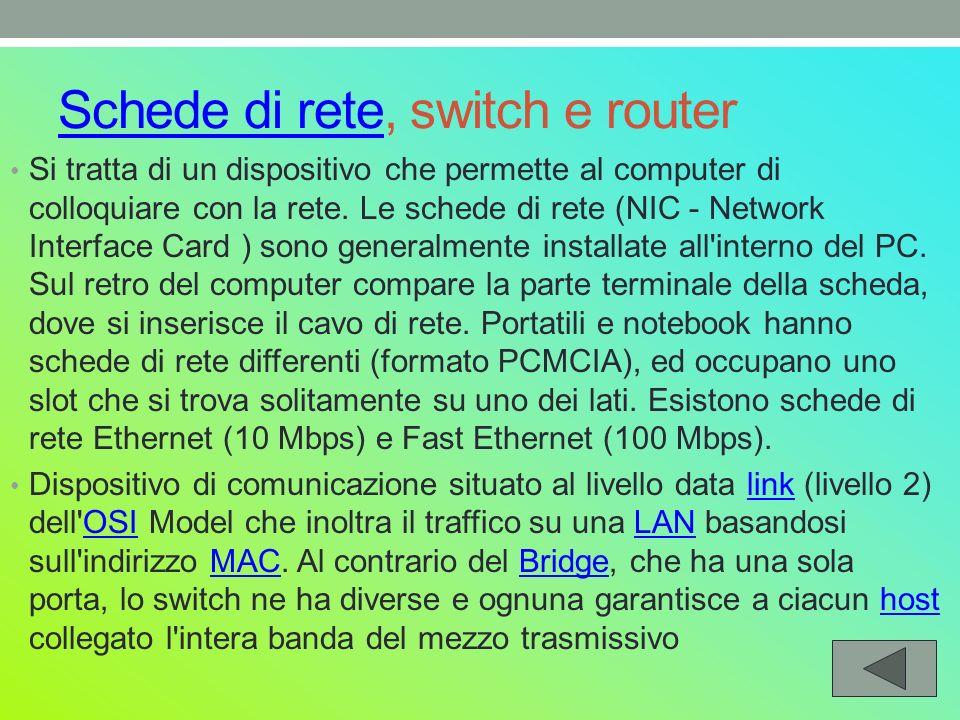 Schede di reteSchede di rete, switch e router Si tratta di un dispositivo che permette al computer di colloquiare con la rete.