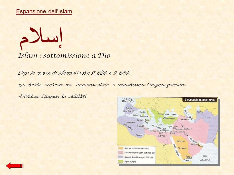 Dopo la morte di Maometto fra il 634 e il 644, gli Arabi crearono un immenso stato e introdussero limpero persiano Dividono limpero in califfati إسلام Islam : sottomissione a Dio Espansione dellIslam