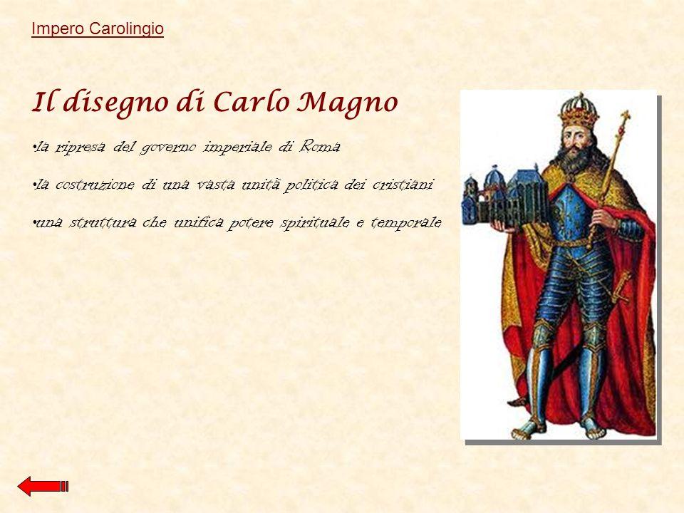 Il disegno di Carlo Magno la ripresa del governo imperiale di Roma la costruzione di una vasta unità politica dei cristiani una struttura che unifica potere spirituale e temporale Impero Carolingio