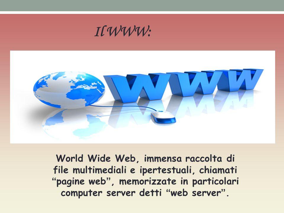 Il WWW: World Wide Web, immensa raccolta di file multimediali e ipertestuali, chiamati pagine web, memorizzate in particolari computer server detti we
