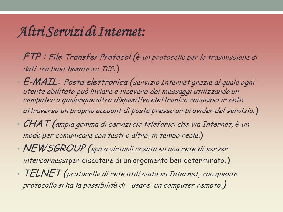 Altri Servizi di Internet: FTP : File Transfer Protocol ( è un protocollo per la trasmissione di dati tra host basato su TCP.) E-MAIL: Posta elettroni