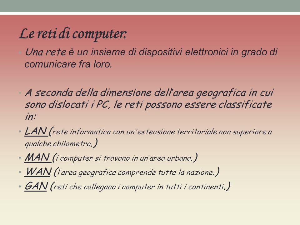 Le reti di computer: Una rete è un insieme di dispositivi elettronici in grado di comunicare fra loro. A seconda della dimensione dell area geografica