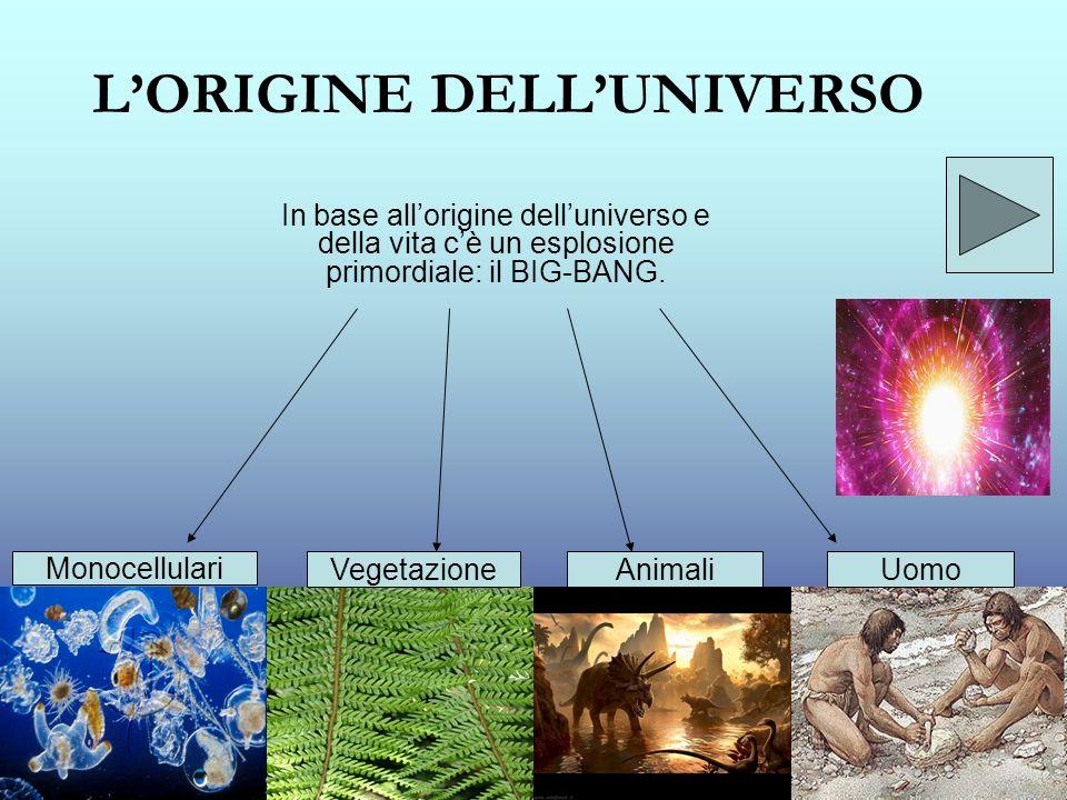 LORIGINE DELLUNIVERSO In base allorigine delluniverso e della vita cè un esplosione primordiale: il BIG-BANG. Monocellulari VegetazioneAnimaliUomo