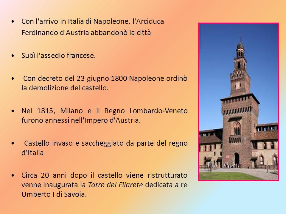 Con l'arrivo in Italia di Napoleone, l'Arciduca Ferdinando d'Austria abbandonò la città Subì l'assedio francese. Con decreto del 23 giugno 1800 Napole
