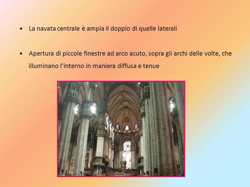 La navata centrale è ampia il doppio di quelle laterali Apertura di piccole finestre ad arco acuto, sopra gli archi delle volte, che illuminano linter