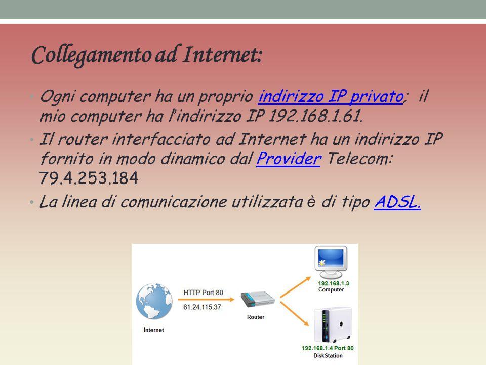 Collegamento ad Internet: Ogni computer ha un proprio indirizzo IP privato; il mio computer ha l indirizzo IP 192.168.1.61.indirizzo IP privato Il router interfacciato ad Internet ha un indirizzo IP fornito in modo dinamico dal Provider Telecom: 79.4.253.184Provider La linea di comunicazione utilizzata è di tipo ADSL.ADSL.