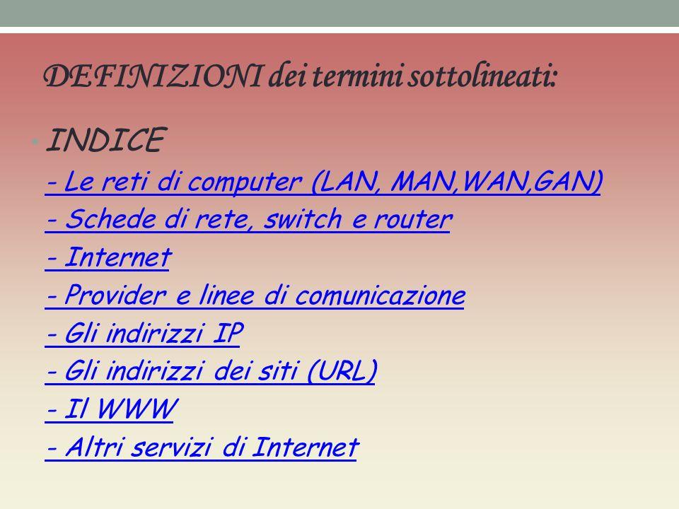 DEFINIZIONI dei termini sottolineati: INDICE - Le reti di computer (LAN, MAN,WAN,GAN) - Schede di rete, switch e router - Internet - Provider e linee di comunicazione - Gli indirizzi IP - Gli indirizzi dei siti (URL) - Il WWW - Altri servizi di Internet