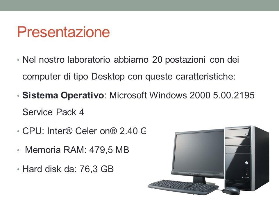 Presentazione Nel nostro laboratorio abbiamo 20 postazioni con dei computer di tipo Desktop con queste caratteristiche: Sistema Operativo: Microsoft W