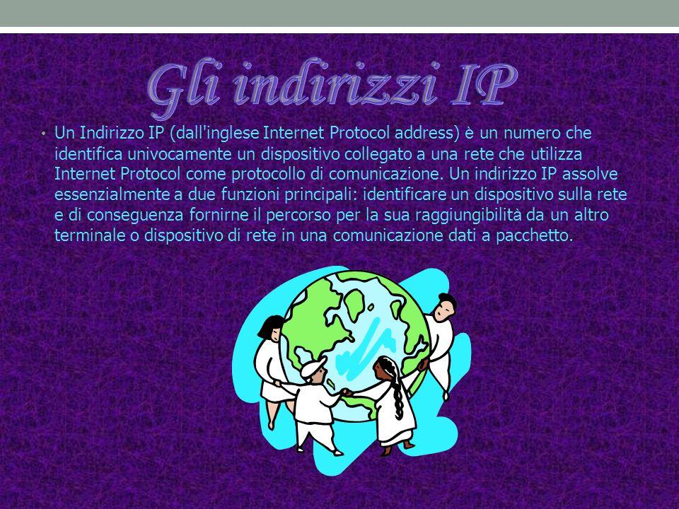 Un Indirizzo IP (dall inglese Internet Protocol address) è un numero che identifica univocamente un dispositivo collegato a una rete che utilizza Internet Protocol come protocollo di comunicazione.