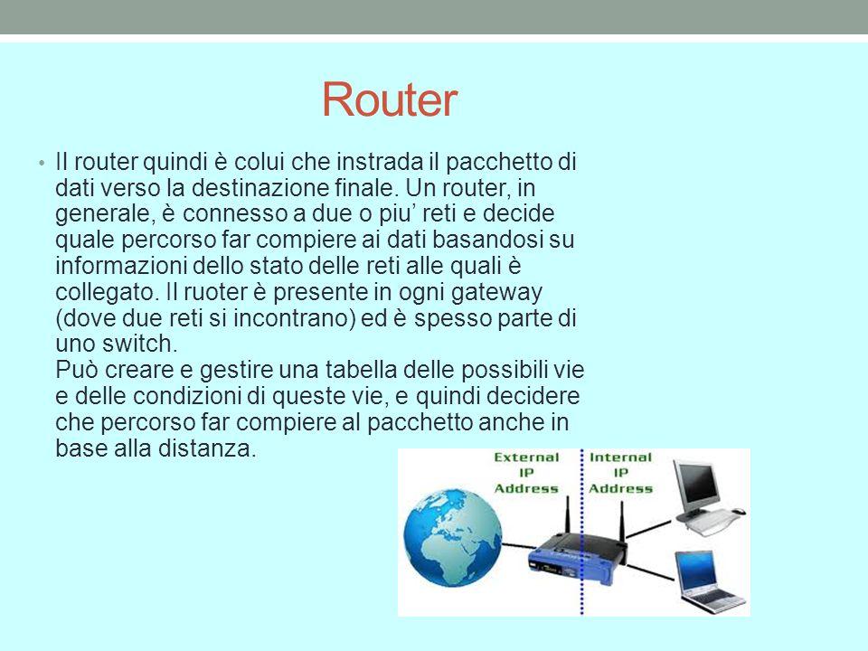 Router Il router quindi è colui che instrada il pacchetto di dati verso la destinazione finale.
