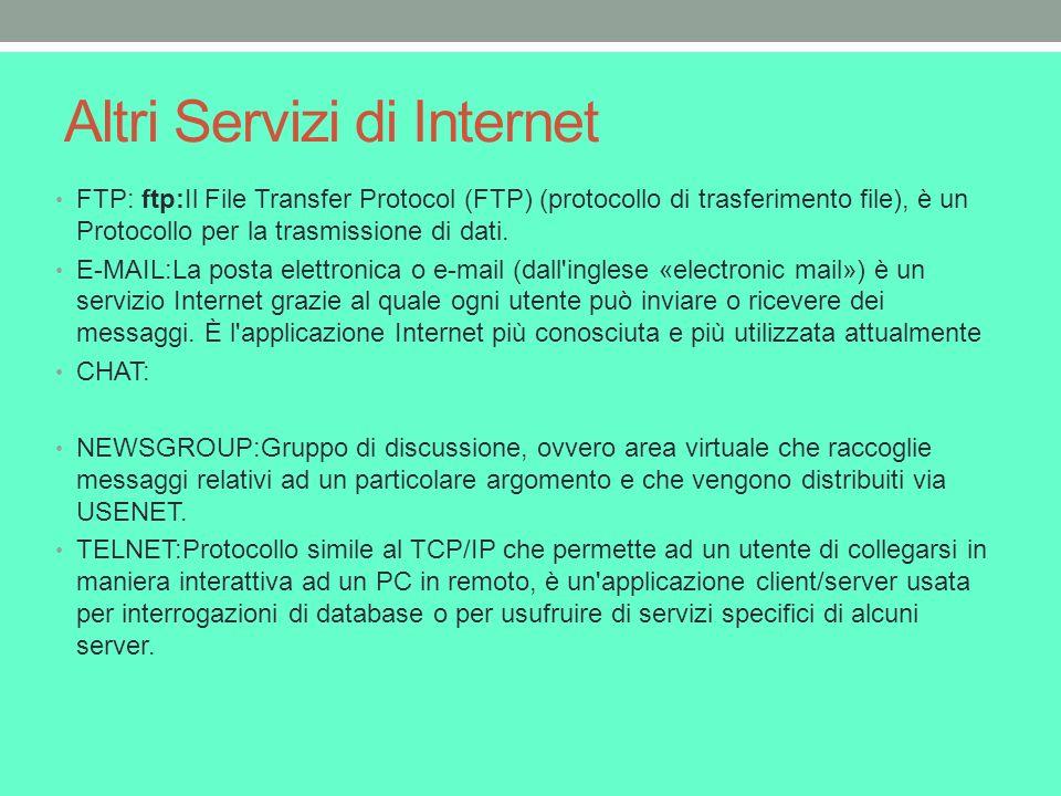 Altri Servizi di Internet FTP: ftp:Il File Transfer Protocol (FTP) (protocollo di trasferimento file), è un Protocollo per la trasmissione di dati.