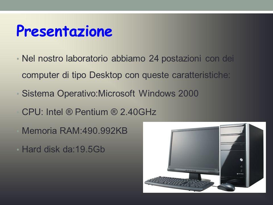 Presentazione Nel nostro laboratorio abbiamo 24 postazioni con dei computer di tipo Desktop con queste caratteristiche: Sistema Operativo:Microsoft Windows 2000 CPU: Intel ® Pentium ® 2.40GHz Memoria RAM:490.992KB Hard disk da:19.5Gb