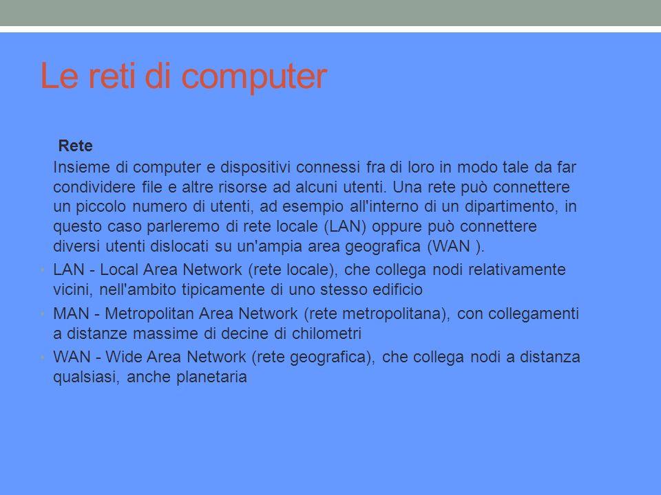Le reti di computer Rete Insieme di computer e dispositivi connessi fra di loro in modo tale da far condividere file e altre risorse ad alcuni utenti.