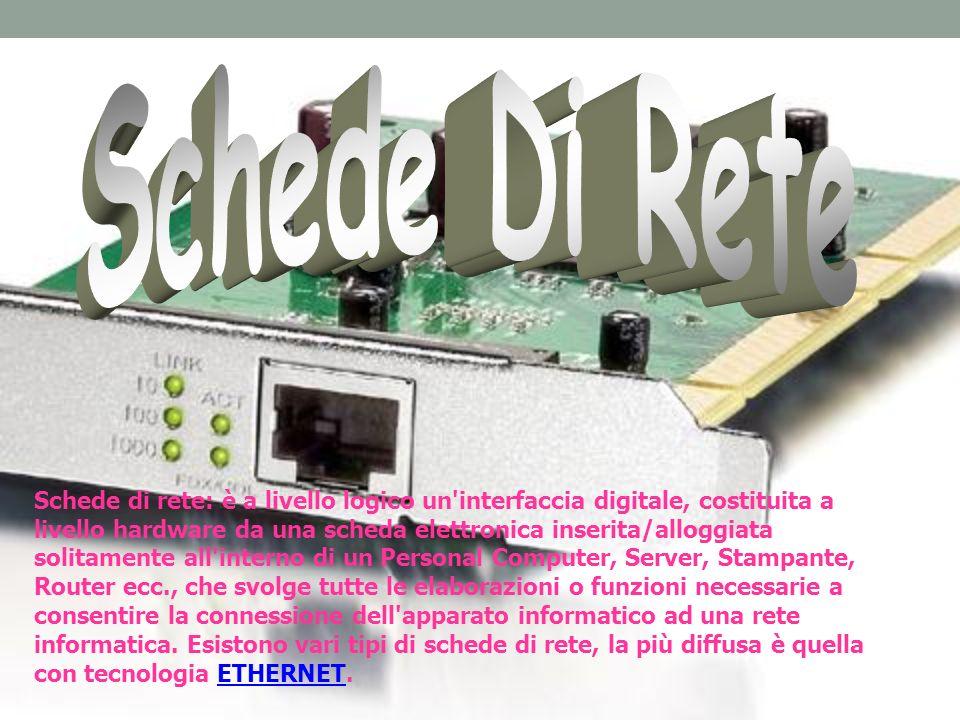 Schede di rete: è a livello logico un'interfaccia digitale, costituita a livello hardware da una scheda elettronica inserita/alloggiata solitamente al