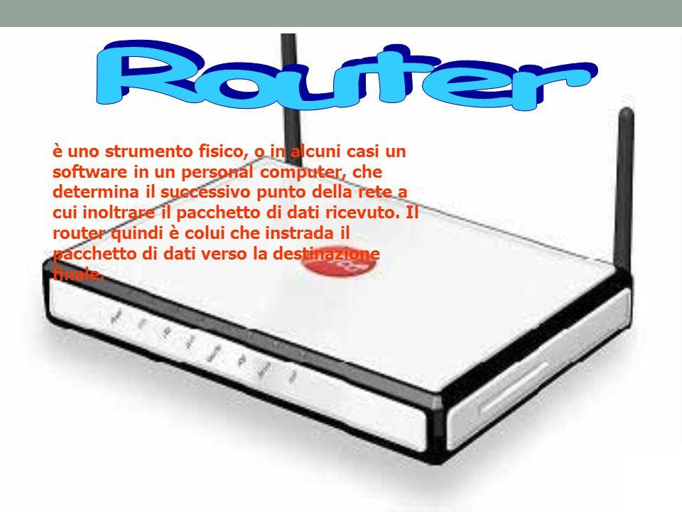 è uno strumento fisico, o in alcuni casi un software in un personal computer, che determina il successivo punto della rete a cui inoltrare il pacchett