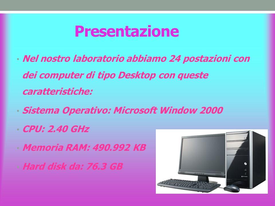 Presentazione Nel nostro laboratorio abbiamo 24 postazioni con dei computer di tipo Desktop con queste caratteristiche: Sistema Operativo: Microsoft Window 2000 CPU: 2.40 GHz Memoria RAM: 490.992 KB Hard disk da: 76.3 GB
