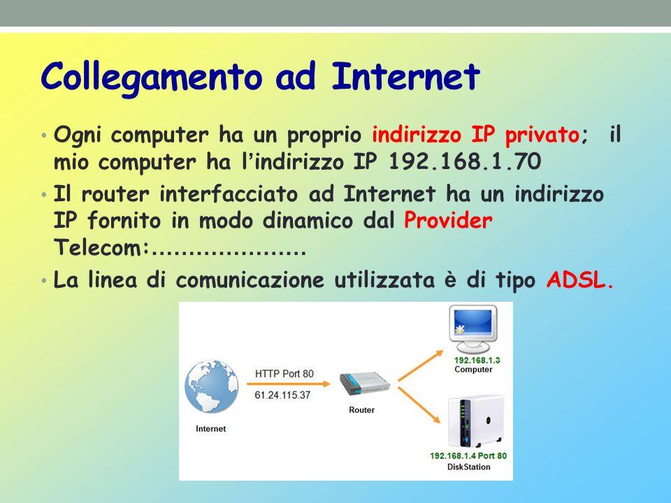 Collegamento ad Internet Ogni computer ha un proprio indirizzo IP privato; il mio computer ha l indirizzo IP 192.168.1.70 Il router interfacciato ad Internet ha un indirizzo IP fornito in modo dinamico dal Provider Telecom: ………………… La linea di comunicazione utilizzata è di tipo ADSL.