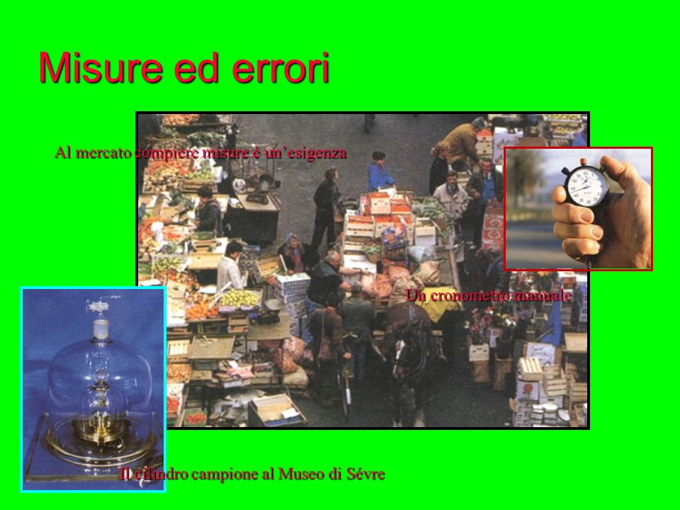 Misure ed errori Il cilindro campione al Museo di Sévre Al mercato compiere misure è unesigenza Un cronometro manuale