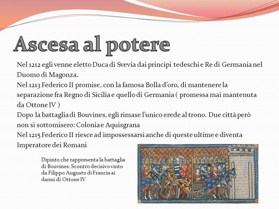 Nel 1212 egli venne eletto Duca di Svevia dai principi tedeschi e Re di Germania nel Duomo di Magonza. Nel 1213 Federico II promise, con la famosa Bol