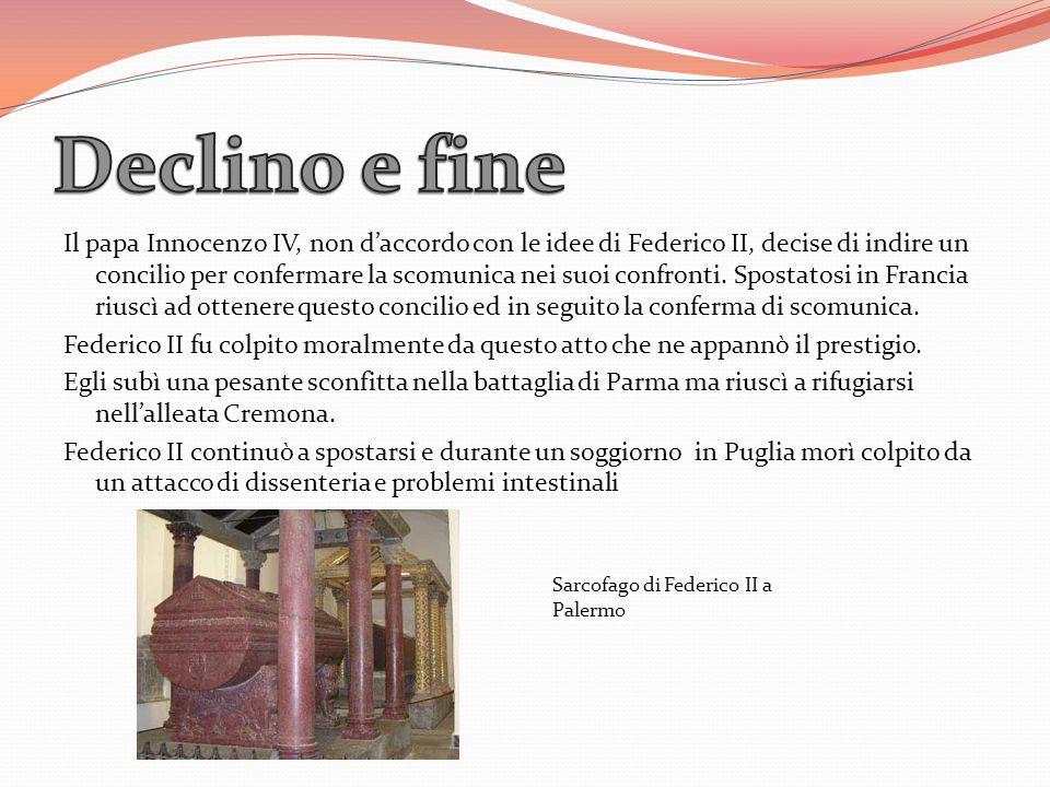Il papa Innocenzo IV, non daccordo con le idee di Federico II, decise di indire un concilio per confermare la scomunica nei suoi confronti. Spostatosi