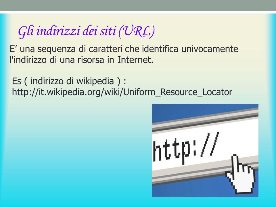 Gli indirizzi dei siti (URL) E una sequenza di caratteri che identifica univocamente l indirizzo di una risorsa in Internet.