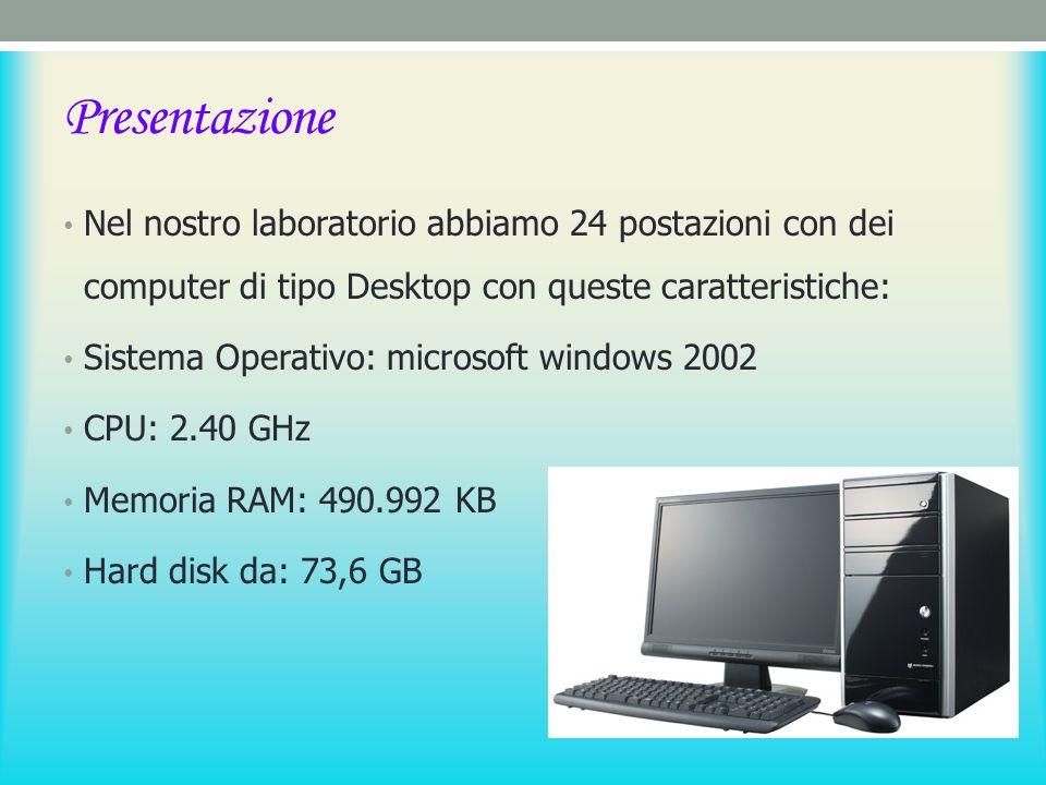 Presentazione Nel nostro laboratorio abbiamo 24 postazioni con dei computer di tipo Desktop con queste caratteristiche: Sistema Operativo: microsoft windows 2002 CPU: 2.40 GHz Memoria RAM: 490.992 KB Hard disk da: 73,6 GB