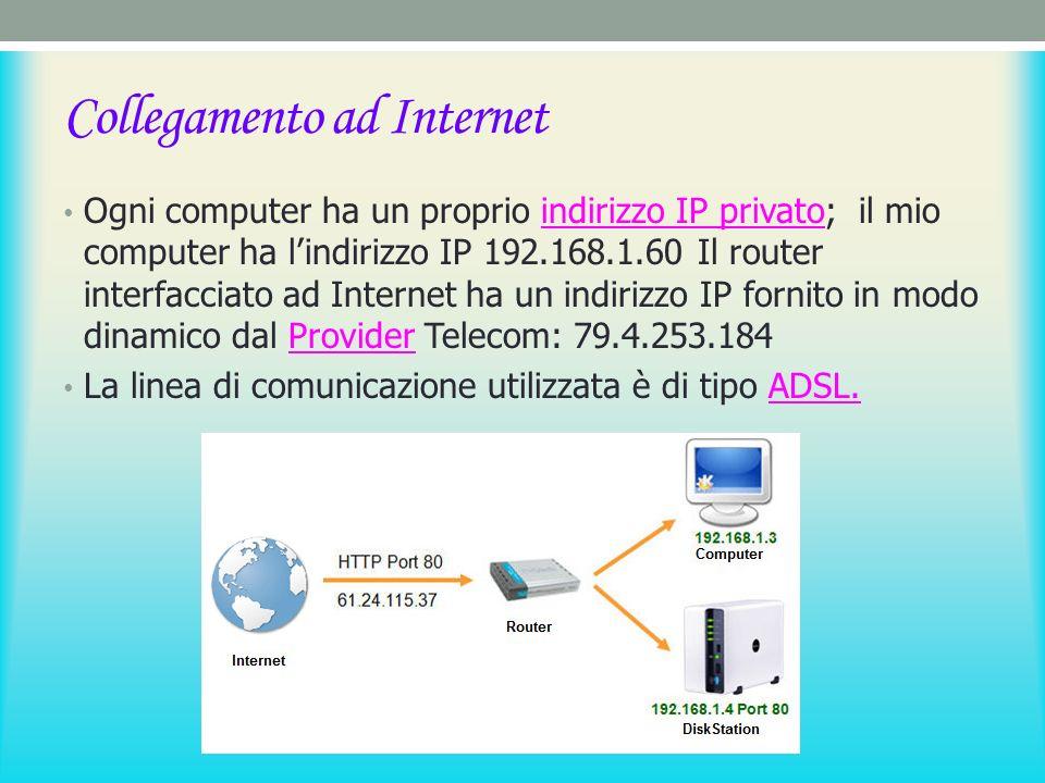 Collegamento ad Internet Ogni computer ha un proprio indirizzo IP privato; il mio computer ha lindirizzo IP 192.168.1.60 Il router interfacciato ad Internet ha un indirizzo IP fornito in modo dinamico dal Provider Telecom: 79.4.253.184indirizzo IP privatoProvider La linea di comunicazione utilizzata è di tipo ADSL.ADSL.