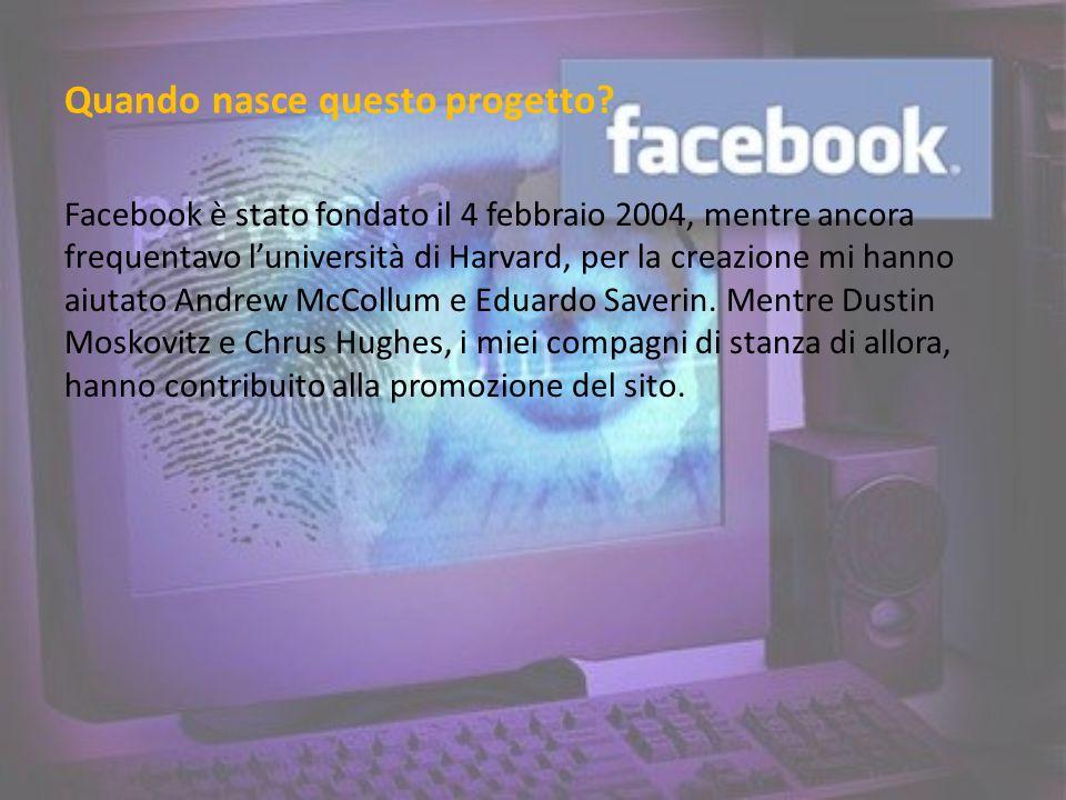 Quando nasce questo progetto? Facebook è stato fondato il 4 febbraio 2004, mentre ancora frequentavo luniversità di Harvard, per la creazione mi hanno