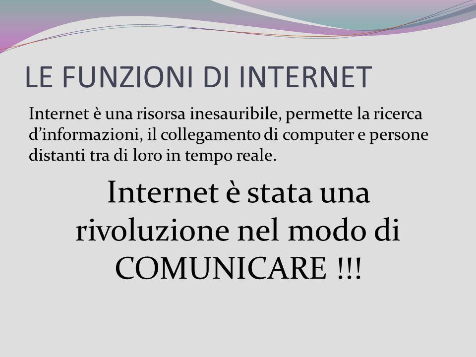 LE FUNZIONI DI INTERNET Internet è una risorsa inesauribile, permette la ricerca dinformazioni, il collegamento di computer e persone distanti tra di