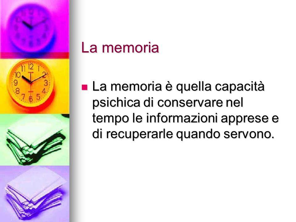 La memoria La memoria è quella capacità psichica di conservare nel tempo le informazioni apprese e di recuperarle quando servono. La memoria è quella
