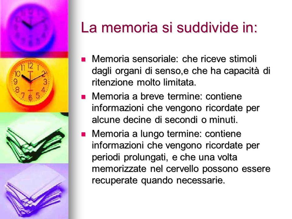 La memoria si suddivide in: Memoria sensoriale: che riceve stimoli dagli organi di senso,e che ha capacità di ritenzione molto limitata. Memoria senso