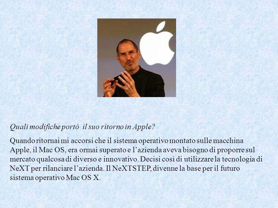 Quali modifiche portò il suo ritorno in Apple.