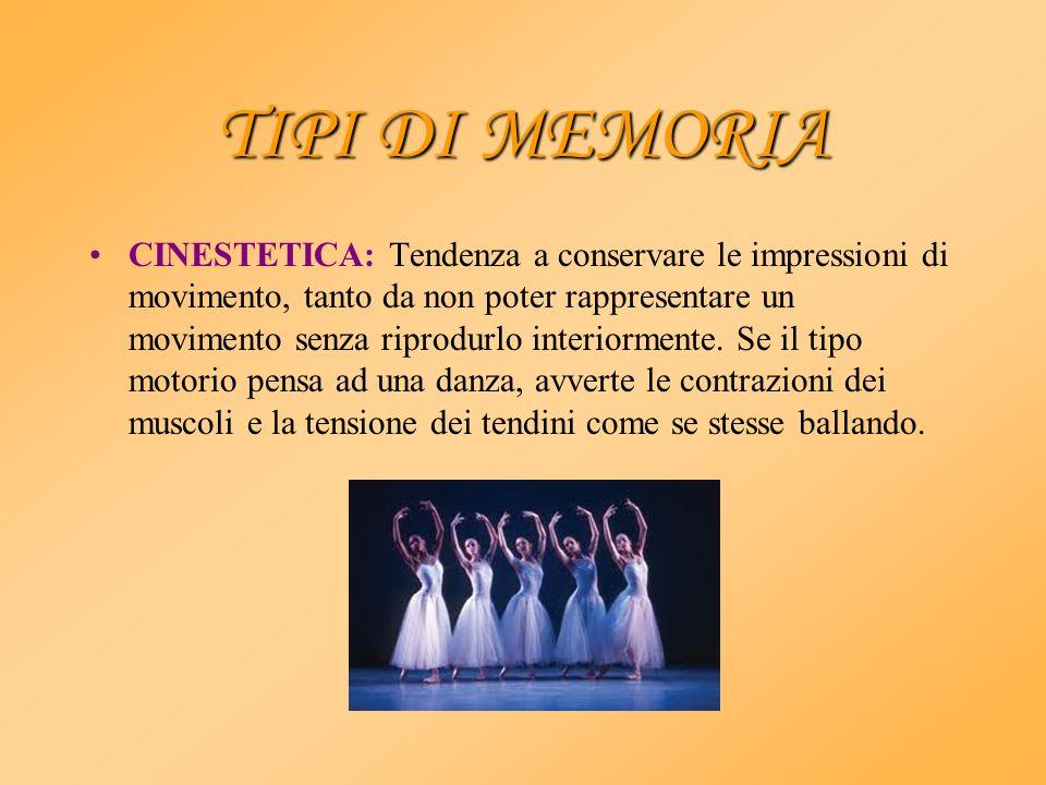 TIPI DI MEMORIA CINESTETICA: Tendenza a conservare le impressioni di movimento, tanto da non poter rappresentare un movimento senza riprodurlo interio