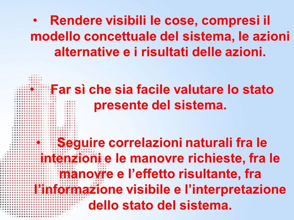 Rendere visibili le cose, compresi il modello concettuale del sistema, le azioni alternative e i risultati delle azioni.