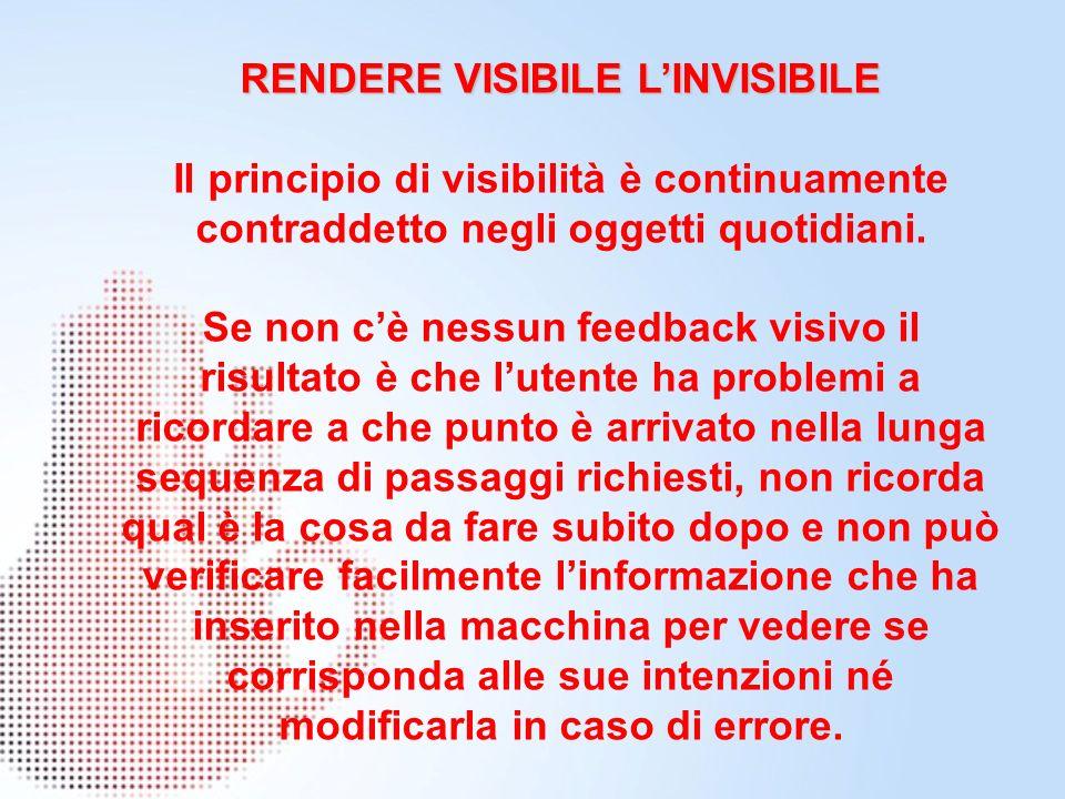 RENDERE VISIBILE LINVISIBILE Il principio di visibilità è continuamente contraddetto negli oggetti quotidiani. Se non cè nessun feedback visivo il ris