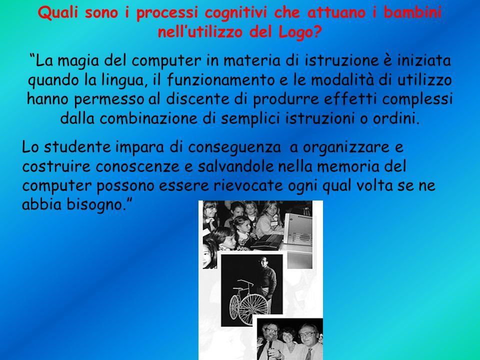 Quali sono i processi cognitivi che attuano i bambini nellutilizzo del Logo.