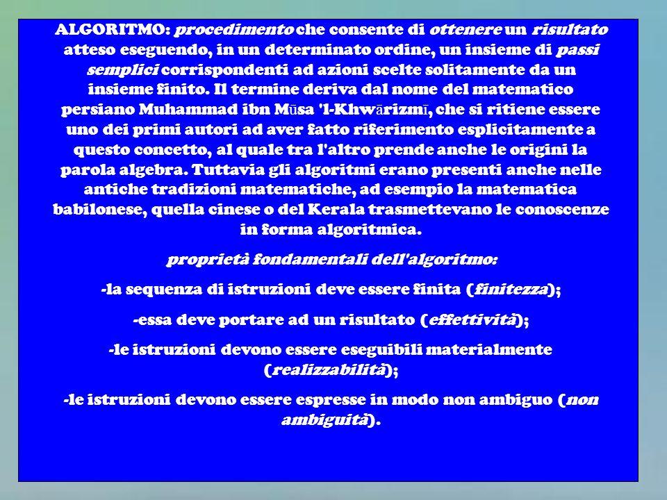 ALGORITMO: procedimento che consente di ottenere un risultato atteso eseguendo, in un determinato ordine, un insieme di passi semplici corrispondenti