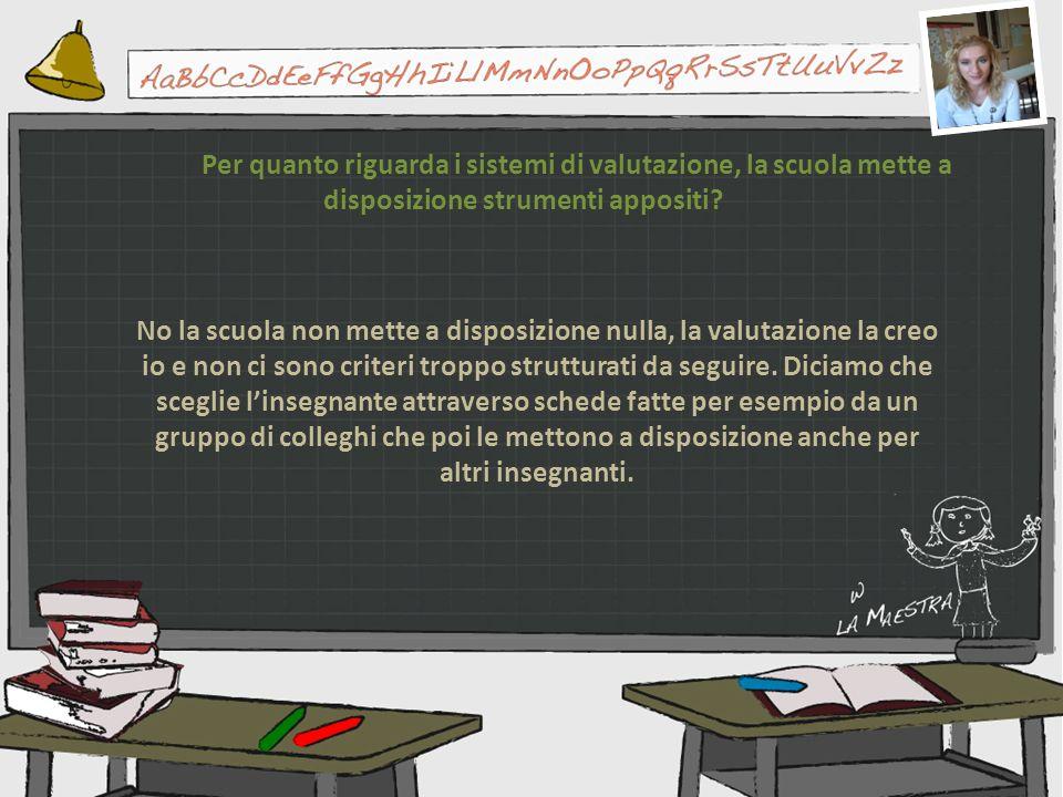Per quanto riguarda i sistemi di valutazione, la scuola mette a disposizione strumenti appositi? No la scuola non mette a disposizione nulla, la valut