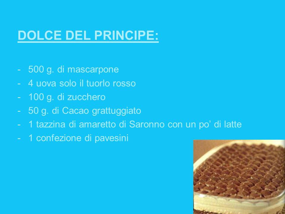 DOLCE DEL PRINCIPE: -500 g. di mascarpone -4 uova solo il tuorlo rosso -100 g. di zucchero -50 g. di Cacao grattuggiato -1 tazzina di amaretto di Saro