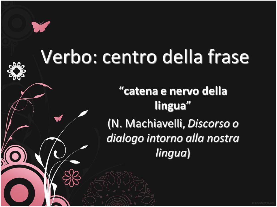 Verbo: centro della frase catena e nervo della linguacatena e nervo della lingua (N. Machiavelli, Discorso o dialogo intorno alla nostra lingua)