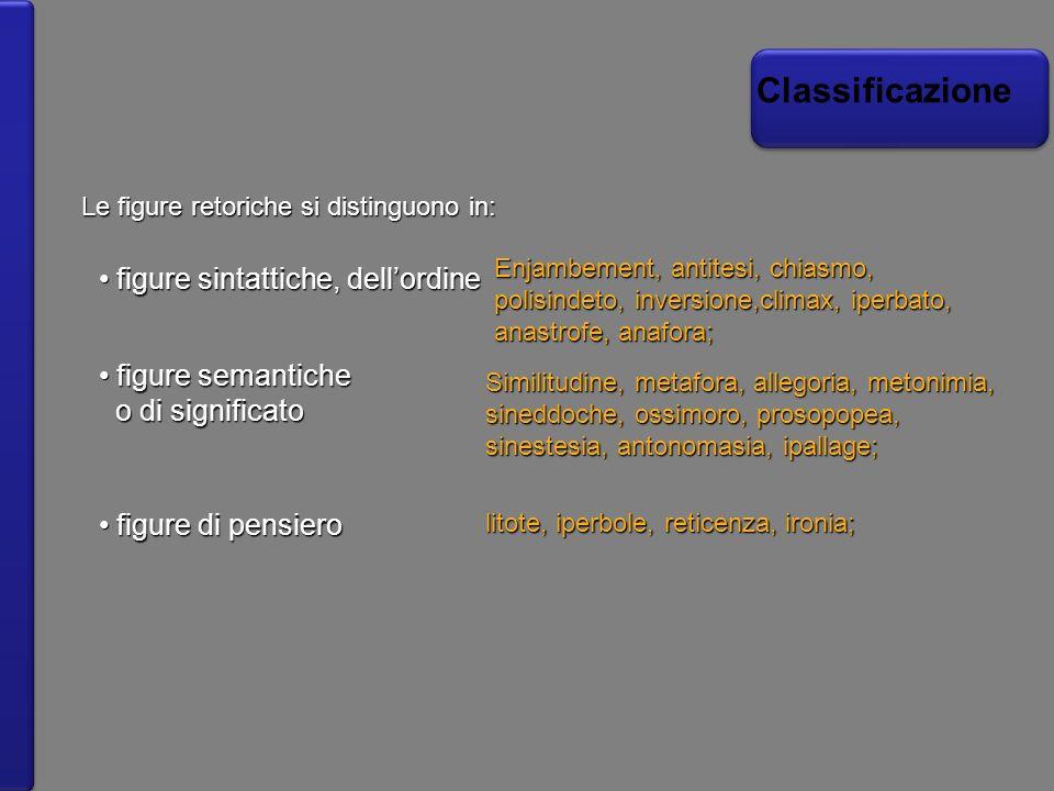 Classificazione Le figure retoriche si distinguono in: figure sintattiche, dellordine figure sintattiche, dellordine Enjambement, antitesi, chiasmo, p
